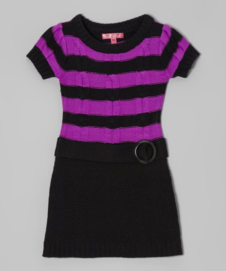 Purple Cactus & Black Belted Sweater Dress - Girls