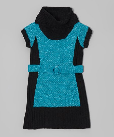 Mermaid & Black Color Block Belted Dress - Girls