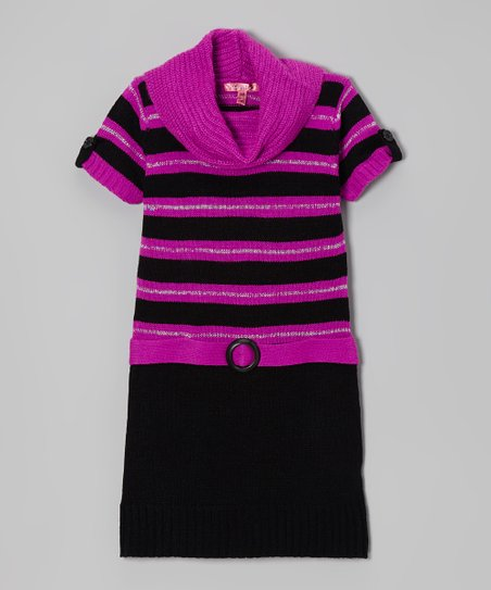 Very Berry & Black Stripe Cowl Neck Dress - Girls