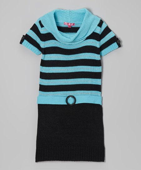 Bluebell & Black Stripe Cowl Neck Dress - Girls