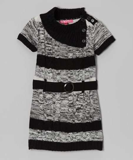 High Rise Stripe Belted Split-Neck Dress - Infant