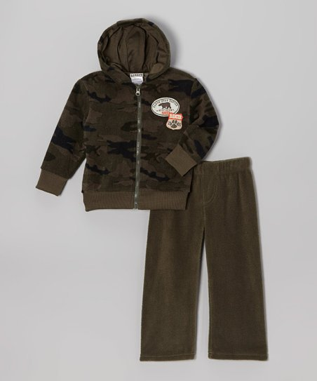 Olive Camo Fleece Zip-Up Hoodie & Pants - Infant, Toddler & Boys