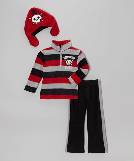 Black & Red Stripe Pirate Pullover Set - Infant & Toddler
