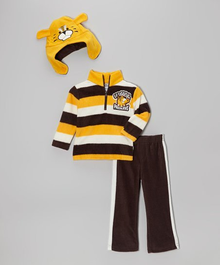 Brown & Yellow Stripe Tiger Pullover Set - Infant & Toddler