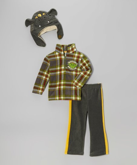 Olive Plaid Dragon Pullover Set - Infant & Toddler