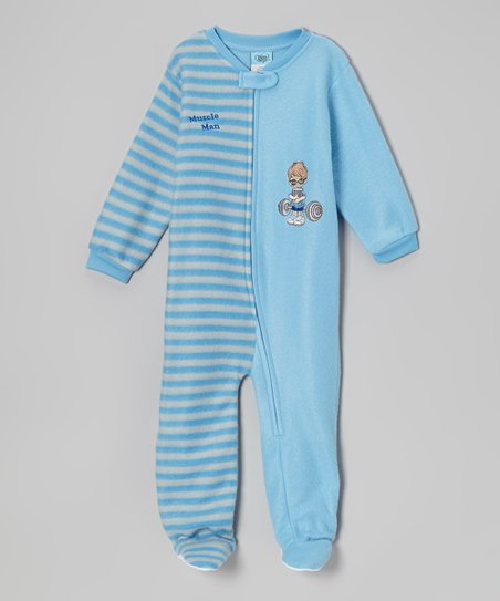 Light Blue 'Muscle Man' Footie - Infant & Toddler