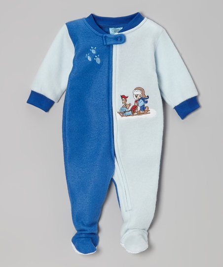 Blue & White Paw Print Footie - Infant & Toddler