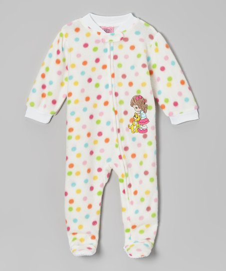 White & Rainbow Polka Dot Footie - Infant & Toddler