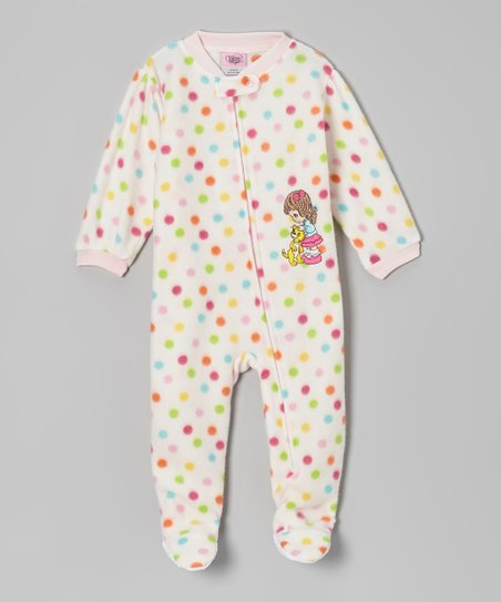 White & Pink Polka Dot Footie - Infant & Toddler