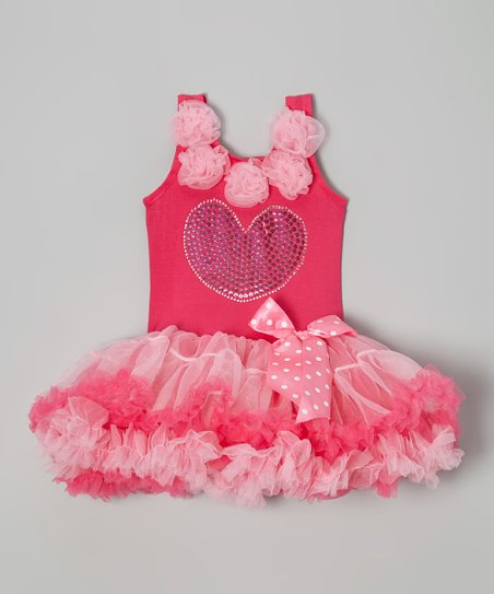 Hot Pink Sequin Heart Ruffle Dress - Toddler & Girls