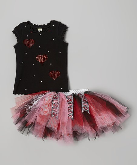 Black Rhinestone Heart Tee & Pink Tutu – Infant, Toddler & Girls