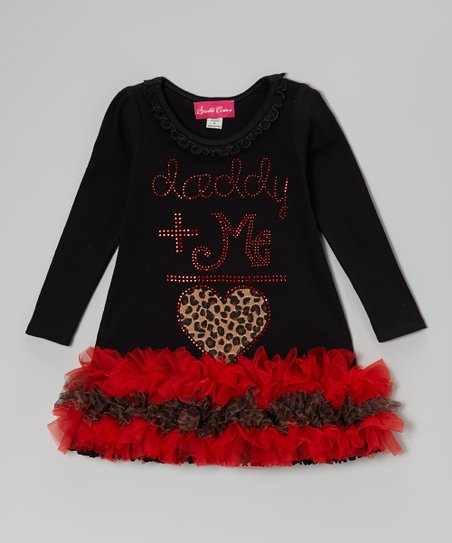 Black 'Daddy + Me = Love' Ruffle Dress - Infant, Toddler & Girls