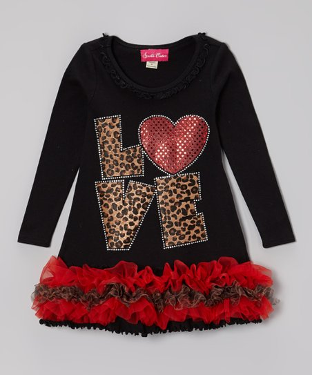 Black & Red 'Love' Ruffle Dress - Infant, Toddler & Girls