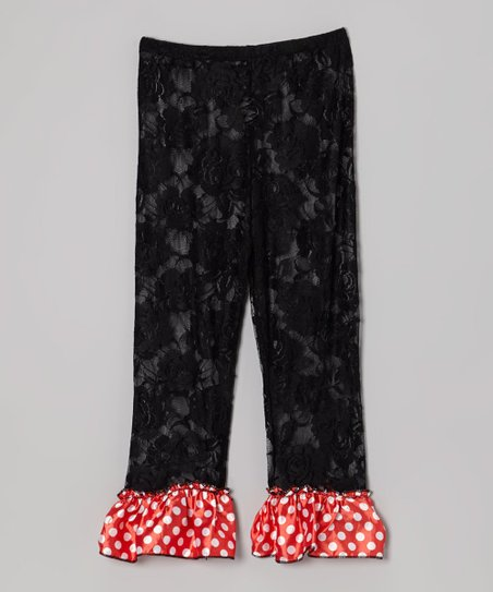 Black Polka Dot Lace Ruffle Leggings - Infant, Toddler & Girls