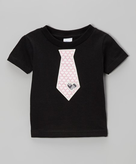 Black & Pink Heart Tie Tee - Infant, Toddler & Boys