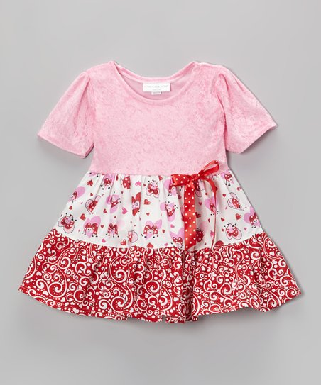 Pink & Red Luv Bugs Tier Ruffle Dress - Infant & Toddler