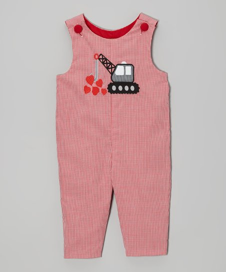 Red Crane Heart Overalls - Infant & Toddler
