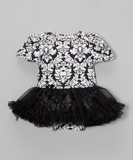 Black Damask Skirted Bodysuit - Infant