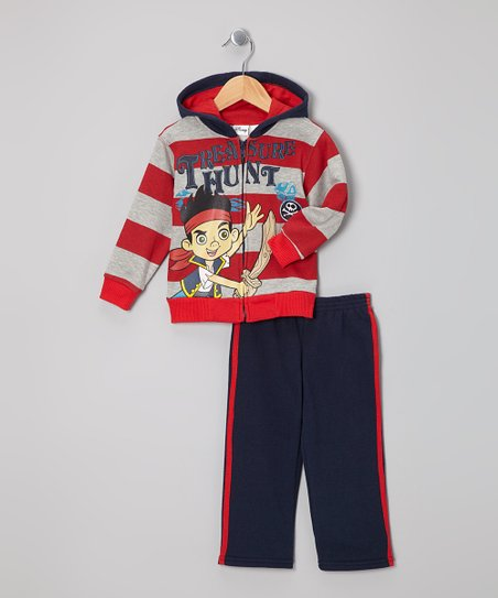 Red & Navy Stripe Zip-Up Hoodie & Pants - Toddler