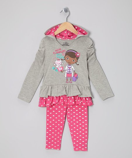 Gray & Pink Doc McStuffins Hooded Tunic & Leggings - Toddler