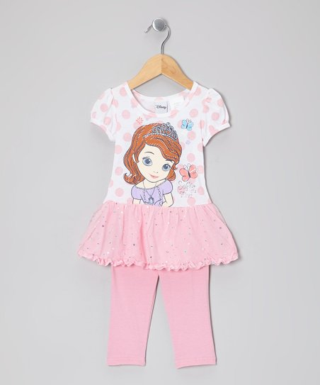 Pink Polka Dot Princess Skirted Tunic & Leggings - Toddler