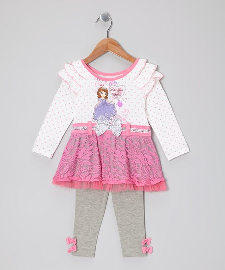Pink Polka Dot 'Royal' Skirted Tunic & Leggings - Toddler