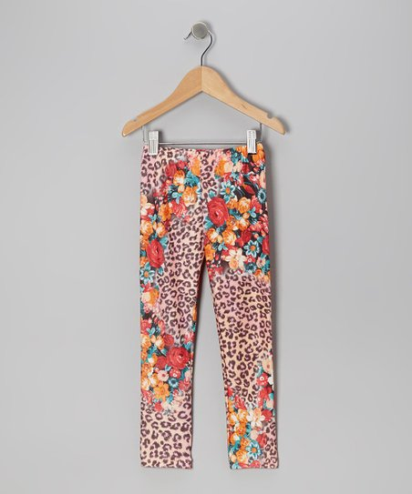 Yellow Leopard Floral Leggings - Girls