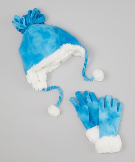 Blue Fleece Pom-Pom Beanie & Gloves
