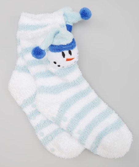 Blue & White Stripe Snowman Gripper Socks