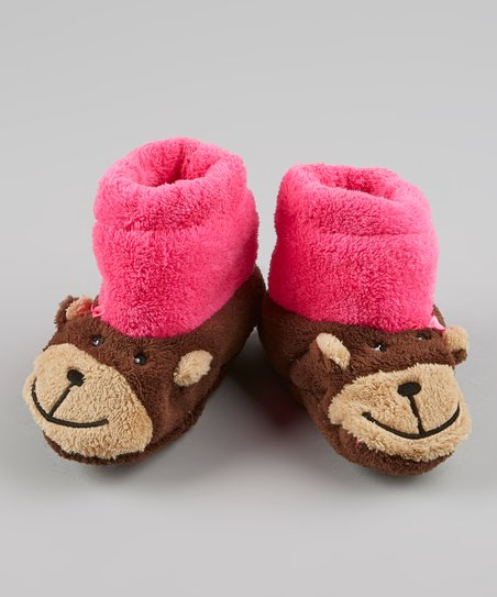 Pink & Brown Monkey Slipper