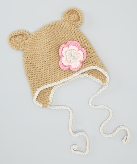 Coffee Rose Bear Earflap Beanie