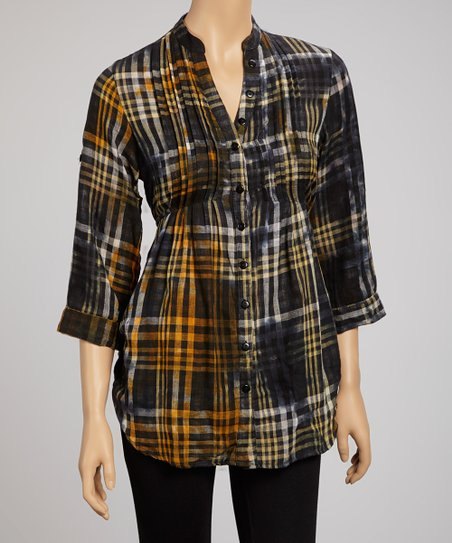 Orange Tie-Dye Buff Plaid Tunic