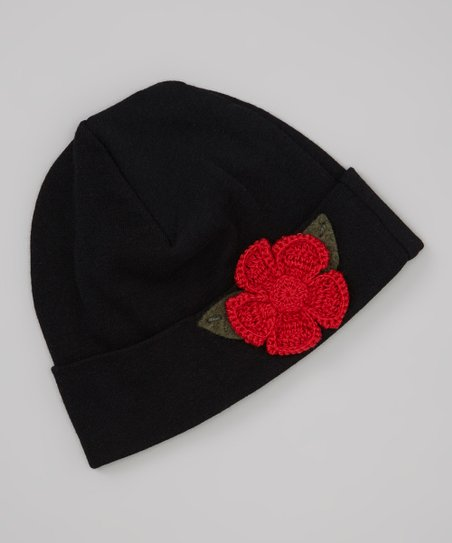 Black & Red Crocheted Rose Beanie