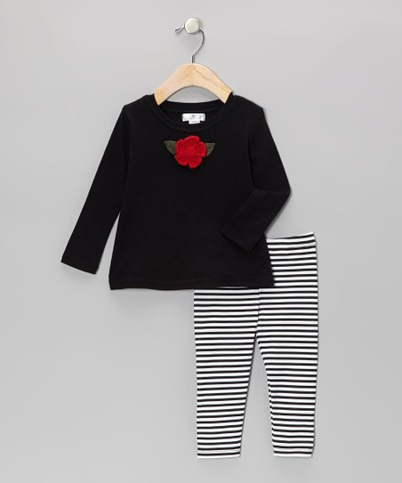 Black Crocheted Rose Tunic & Stripe Leggings - Infant