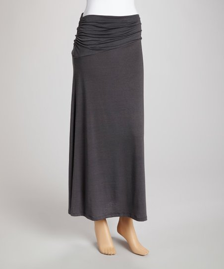Gray Banded-Waist Skirt