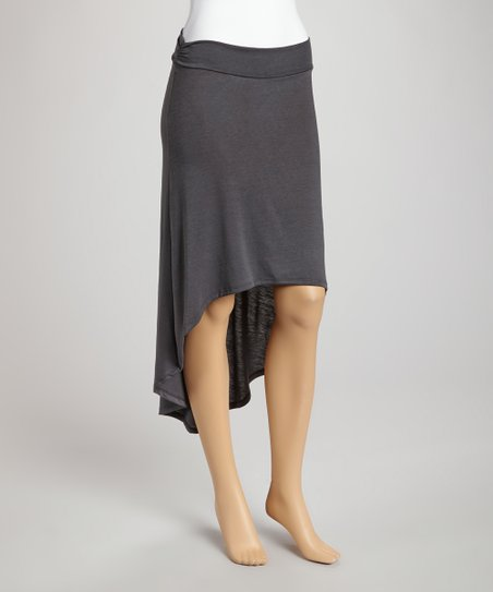 Gray Ruffle Hi-Low Skirt