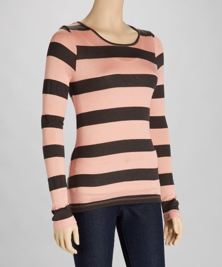Coral & Dark Gray Stripe Cutout Top