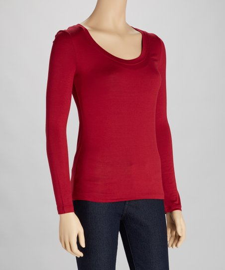 Burgundy Scoop Neck Tee