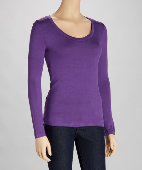 Purple Scoop Neck Tee