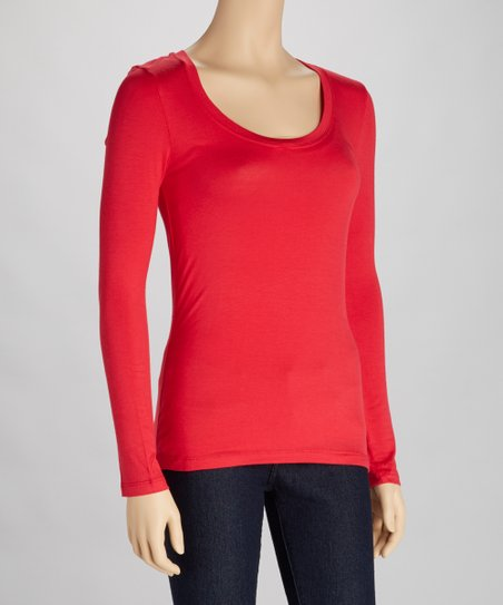 Red Scoop Neck Tee