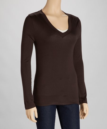 Dark Brown V-Neck Tee