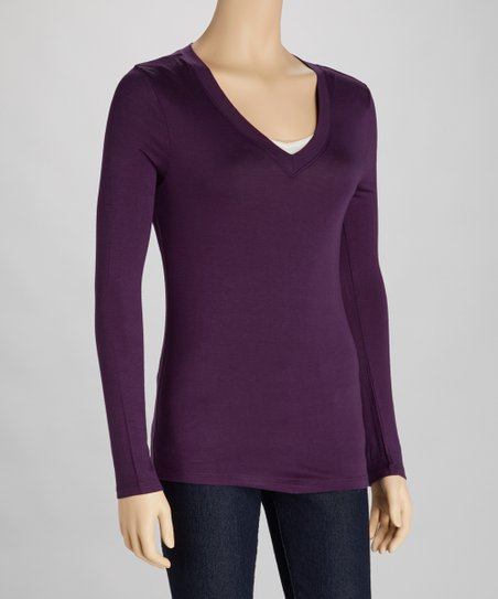 Dark Purple V-Neck Tee