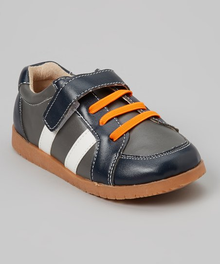 Navy & White Stripe Shoe - Boys