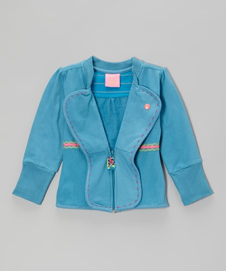 Blue Butterfly Half-Zip Jacket - Toddler & Girls
