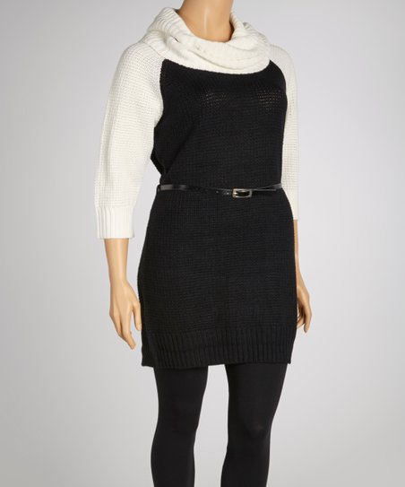 Winter White & Black Belted Cowl Neck Sweater Dress - Plus