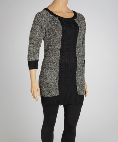 Black Marled Cable-Knit Three-Quarter Sleeve Sweater Dress - Plus