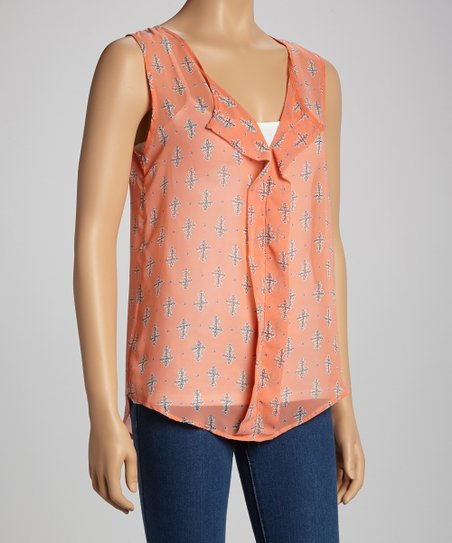 Coral Cross Sleeveless Top – Women
