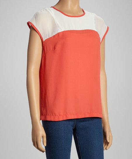 Coral & White Color Block Cap-Sleeve Top – Women