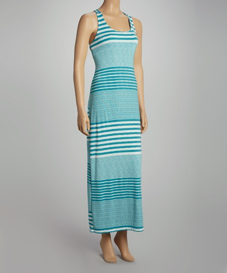 Jade Stripe Racerback Maxi Dress