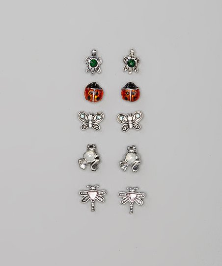 Silver Sparkle Bug Stud Earring Set